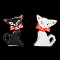 Rare Black and White Funky Cat Salt and Pepper shaker set Porcelain c1940 Japan
