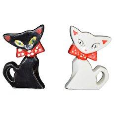 Rare Black and White Funky Cat Salt and Pepper shaker set Porcelain c1940 Japan
