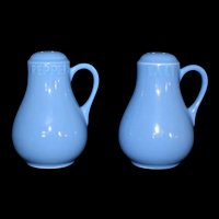 Vintage Tall Blue handled Salt and pepper shaker set MCM 1970's