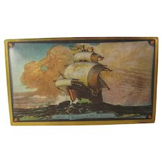 Vintage Canco Candy Tin Sail Tall Ship Ocean Sun Motif Lovell & Covel - Westword Ho - Masterpieces
