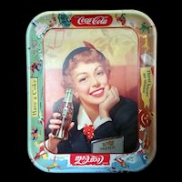 Original Coca Cola Advertising Tray Menu Girl Thirst knows no season 1953-1956