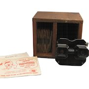 Vintage 1950's Sawyer's View Master with 20+ reels and handmade wood storage box made in Portland Oregon
