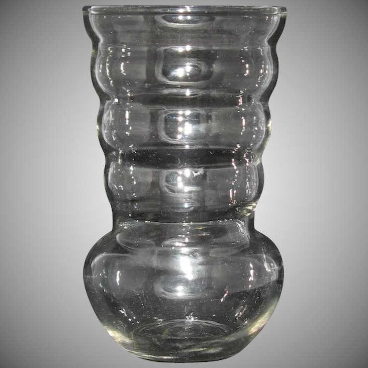 Vintage Clear Ribbed Glass Vase By Federal Marked F In Shield 6 14