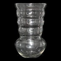 Vintage Clear Ribbed Glass Vase by Federal marked F in shield 6 1/4""