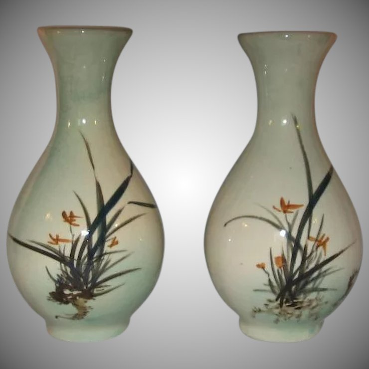 2 Asian Crackle Glazed Hand Painted Flower Vases 1940s Made In