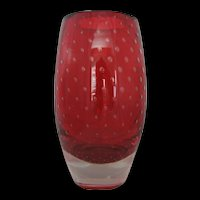 Ruby Red Paperweight Art Glass Vase by Thomas Webb & Sons - c. 1950-1965 Marked