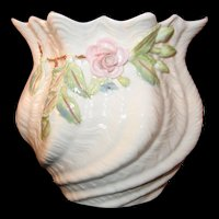 Belleek Aberdeen Rose on Shell like twisted designed Vase 9th Mark