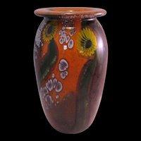 Robert Eickholt Yellow Sunflower Paperweight Studio Art Glass Vase Signed and numbered 1995 - Stunning!