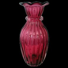 Pilgrim Cranberry Paneled Art Glass Vase with Clear Ribbon around neck – 1980's