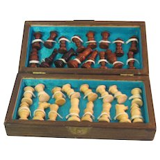 Vintage Mid 20th Century Asian Traveling Hand carved Wood Chess Set