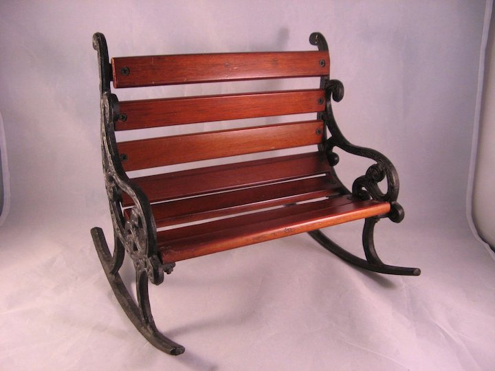 Vintage Large Doll Rocking Chair For Two In Cast Iron U0026 Wood   Heavy Solid  Rocker