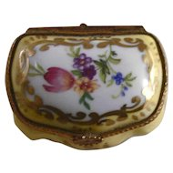 Yellow Glazed Porcelain Bombe Small Box Flowers Gold Trim for Lord & Taylor