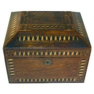 Antique Wood Large Box Parquetry Decorated Inlaid Geometric Pattern with Pinwheels Beautiful Brown Finish
