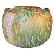 """Beautiful """"Rare"""" Roseville Pottery Wisteria Brown Squat Vase 5 1/4"""" by 6 1/2"""""""