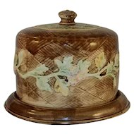 Antique Colorful Majolica Covered Cake Plate or Dish Vine and Floral Design Over Brown Basket Weave