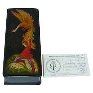 Fedoskino Russian Lacquer Box Prince Ivan and The Firebird Firebird, Tsarevich Ivan & Gray Wolf