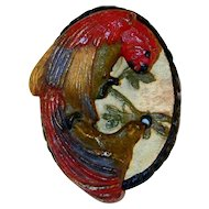 Vintage Painted Hubley Cast Iron Doorknocker Colorful Macaw Parrot Oval Backing