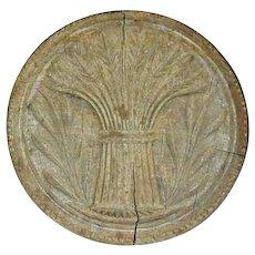 Vintage Primitive Butter Print Deep Carved Wheat Sheaf Design