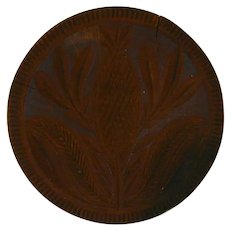Antique Carved Wood Primitive Butter Print Stylized Pineapple Fruit Toothed or Serrated Border