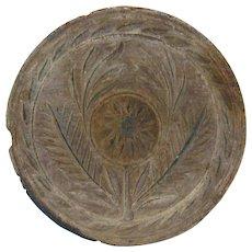 Antique Carved Wood Primitive Butter Print Stylized Flower Decoration