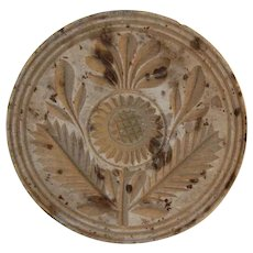 Antique Deep Carved Wood Primitive Butter Print Stylized Thistle Decoration Knob Like Handle
