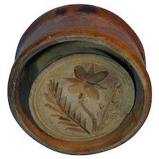 Vintage Very Large Primitive Lathe Turned Flower and Fern Butter Mold