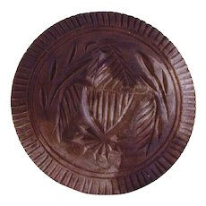 Vintage Carved Wood Primitive Butter Print Stylized Eagle with Shield Toothed Border