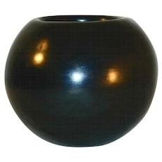 Vintage Maria Martinez Polished Plain Blackware Bowl San Ildefonso Pueblo New Mexico Signed Maria Poveka