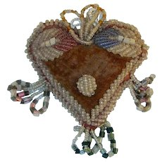 Antique Native American Iroquois or Mohawk Tribe Stuffed Cloth Seed Beads Decorated Heart Shaped Pincushion