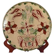 "2009 Redware 10 1/4"" Plate Glazed With Sgraffito Tulips in Pot Breininger Pottery"