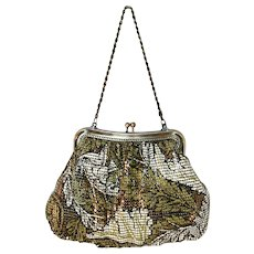 Vintage Mesh Purse Olive Green and White Enamel Foliage Decoration By Whiting Davis