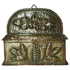 Antique Dutch Brass Kitchen Hanging Box  Repousse and Hammered Decoration Made in Holland