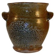 1941 Glazed Redware Brown Gray Small Ovoid Pot Applied Ear Handles Thomas Stahl