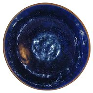 Rare 1938 Isaac Stahl Redware Small Bowl Cobalt Blue Glazed Powder Valley, Pennsylvania