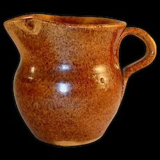 Old Manganese Glazed Speckled Brown Redware Creamer Jugtown Pottery North Carolina