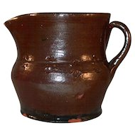 Antique Redware Creamer Lead Glazed  Brown Colored Impressed Flower Decoration By Schofield