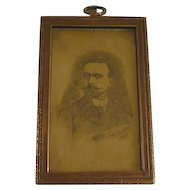 1895 French Engraving By P. Rodde On Bronze or Brass Mustachioed Period Gentleman In Heavy Bronze Frame