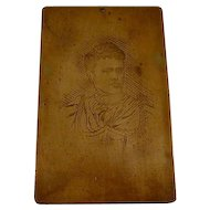 1895 French Engraving Short Haired Period Woman By P. Rodde In Heavy Bronze Frame