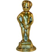 Antique Figural Pipe Tamper Heavy Brass Manneken Pis or Little Boy Urinating in a Fountain