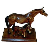 1940s Painted Cast Iron Decorative Figurine on Wooden Base Brown Mare and Foal Possibly Made by Hubley