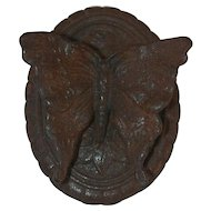 Old 1920s Figural Cast Iron Butterfly Doorknocker Marked VS 70135 Oval Backing