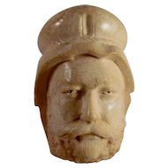 Vintage Meerschaum Pipe Bearded Man with Head Dress Bowl Amber Colored Polymer Stem