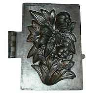 Old Pewter Ice Cream Mold Floral & Foliate Design Marked S & Co Number 457