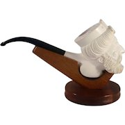 Vintage Carved Meerschaum Pipe Bearded Man with Headdress and a Wooden Stand