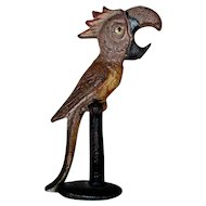 Old Cast Iron Painted Figural Bottle Opener Parrot Perched on Stand