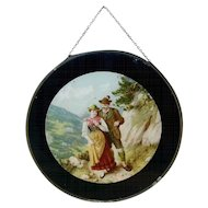 Vintage Round Flue Cover Tyrolean Couple Mountain Path Metal Frame & Glass Cover
