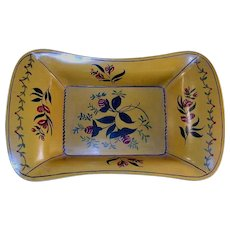 1967 Primitive Painted Tin Toleware  Dark Yellow Deep Apple Tray Floral & Foliate Design Artist Signed