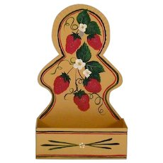 2006 Painted Tin or Toleware Kitchen Hanging Match Holder Strawberries, Floral & Foliate Decoration Artist Signed