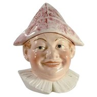 Antique Pottery Figural Tobacco Jar Colorful Jester in Dunce Hat