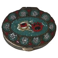 Beautiful Old Small Brass Box Colorful Floral Micro Mosaic Micreomosaic Decoration Hinged Lid